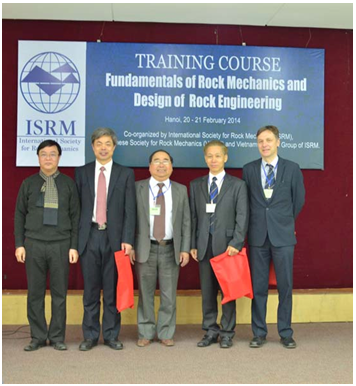 Left to right: Prof. Vu Trong Hung (the Vice‐ President of VSRM, Vietnam national group of ISRM), Prof. Xia‐ Ting Feng (the President of ISRM), Prof. Nghiem Huu Hanh (the President of VSRM, Vietnam national group of ISRM), Dr. Yingxin Zhou the Vice President Asia of ISRM, the Vice president Europe Prof. Frederic Pellet.