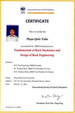 "Example of the certificate of training course""Fundamentals of Rock Mechanics and Design of Rock Engineering"""