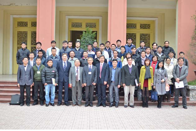 Some of the attendees at the front main house of Water Resources University